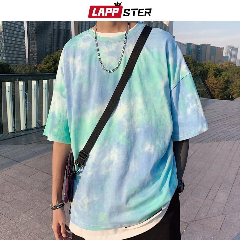 LAPPSTER Men Tie Dye Japanese Streetwear T Shirt 2020 Summer Mens Harajuku Cotton T-Shirt Male Korean Oversize Tops 5XL Tees