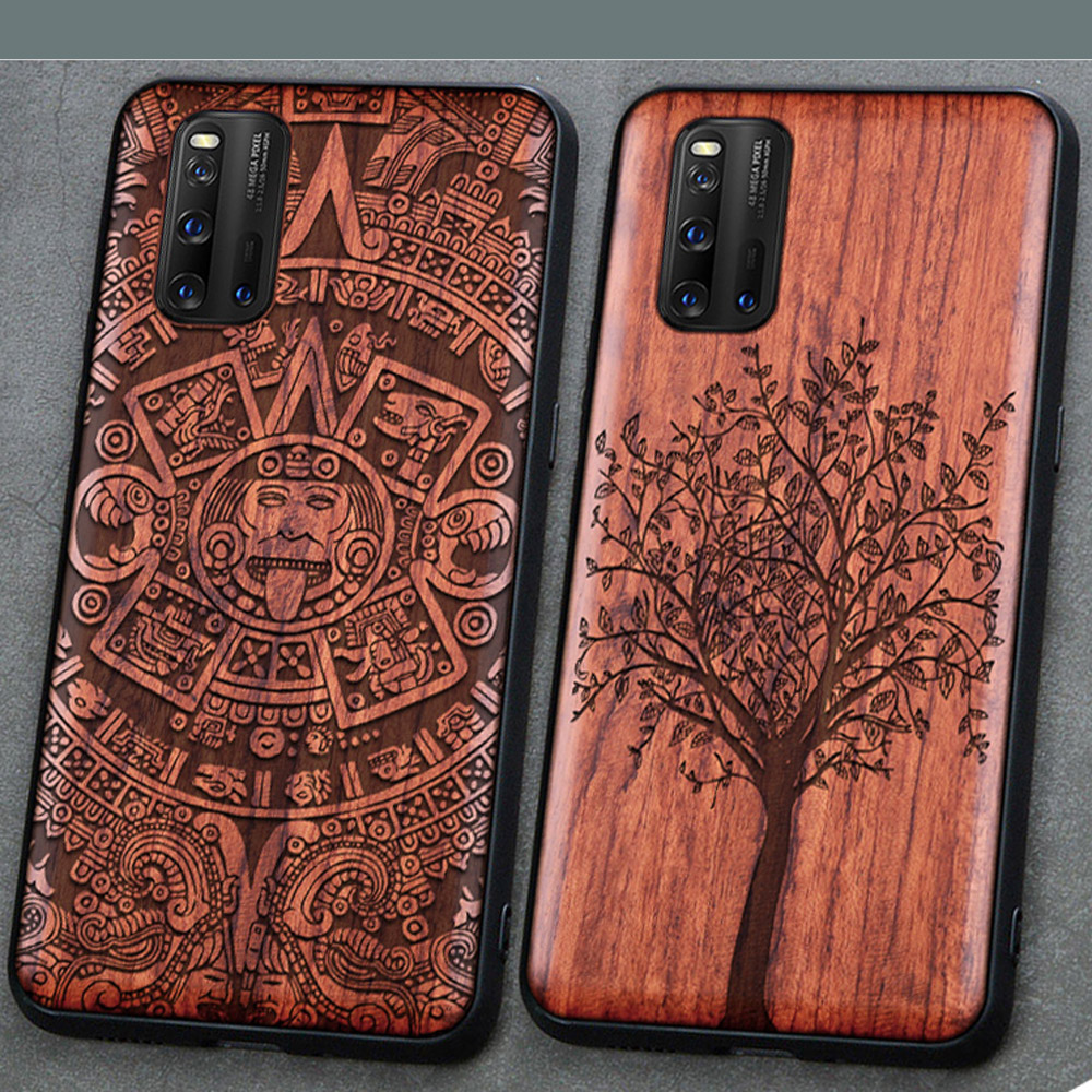 3D Carved Wood Case For Vivo Iqoo 3 5G Tree Wooden Pattern Embossment Carve Cover