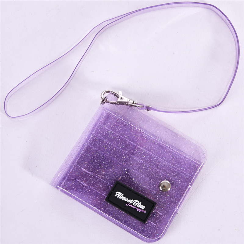 3 Colors Transparent ID Card Holder PVC Folding Short Wallet Women Fashion Girl Glitter Business Cards Drawstring Case