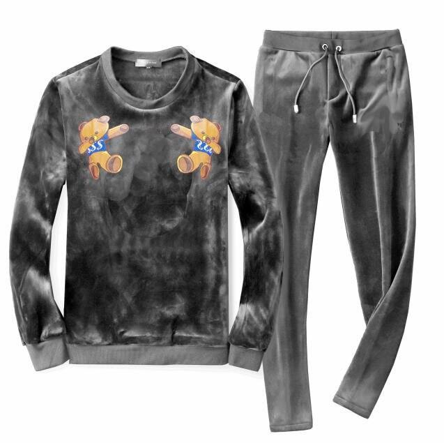 Men's Velour Velvet Sport Sweatshirt Tracksuit Track Suit Outwear 2PC Jacket Coat Pants Trousers Sets Outfits Money Bear