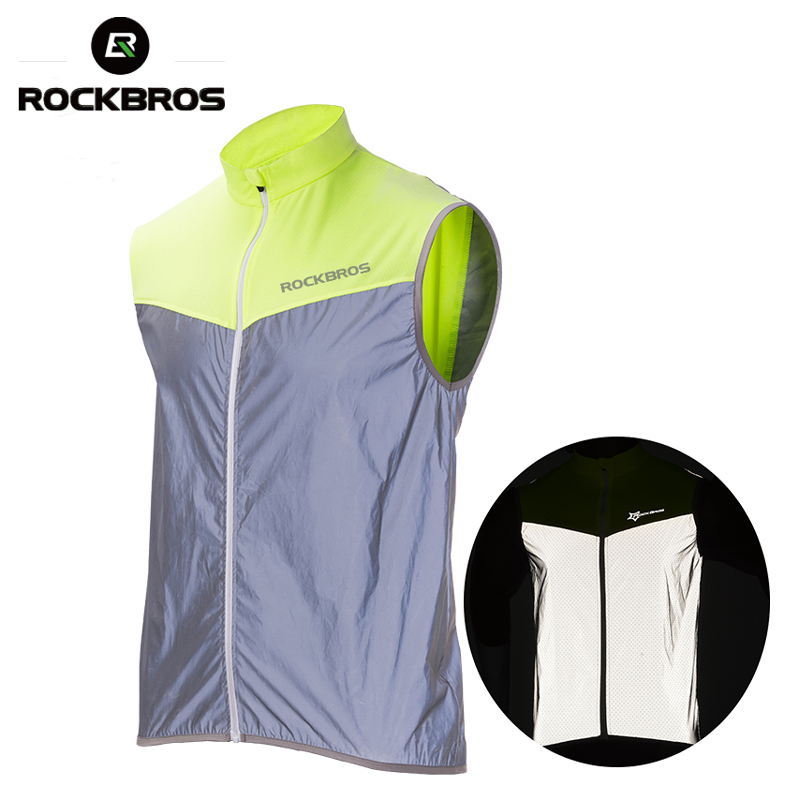 ROCKBROS Cycling Bike Bicycle Reflective Outdoor Vest Running Safety Jersey Sleeveless Breathable Vest Night Walking Vest Coat