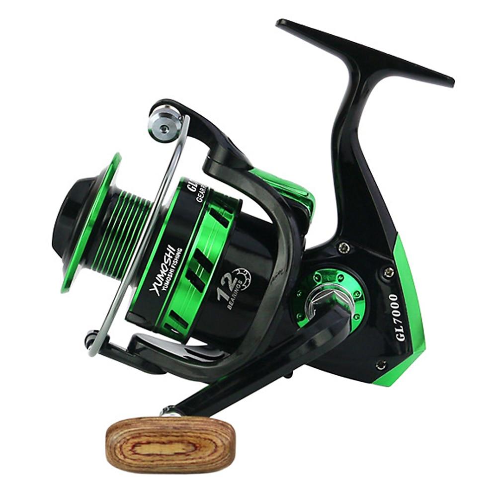 Vismolen Fishing Coil 12BB GL5:5:1 Wooden Handshake Spinning Fishing Reel Professional Metal Left/Right Hand Cheap Fishing Wheel