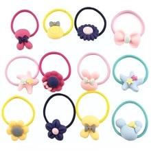 40Pcs Flower Cartoon Headbands Cute Bow Elastic Rubber Bands Bunny Ears Scrunchy Hair Accessories for Girl Candy Color Hairbands