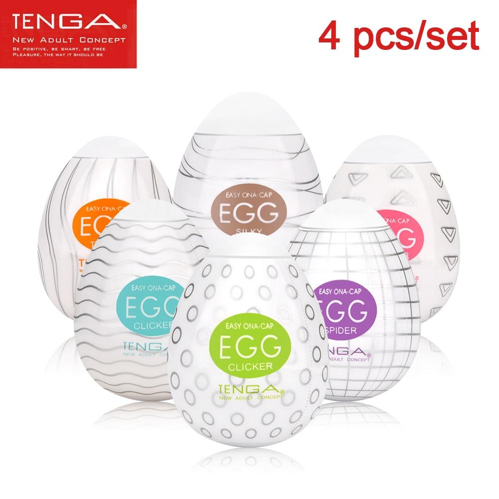 Tenga Masturbation Eggs 4pcs/set Pocket Silicone Masturbator for 18+ Stretchable Penis Massager Lubricant Intimate Toys for Man