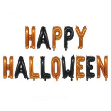 New Halloween Orange Black HAPPY HALLOWEEN Happy Letter Aluminum Film Balloon Party Decoration Supplies