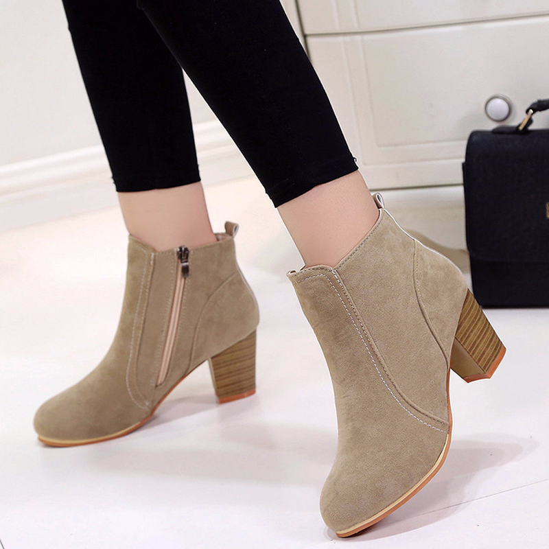 Woman Boots Winter Booties Woman 2019 Short Ankle Boots Flock Square Med Heels Square Toe Flock Short Plush Solid Slip On Boots