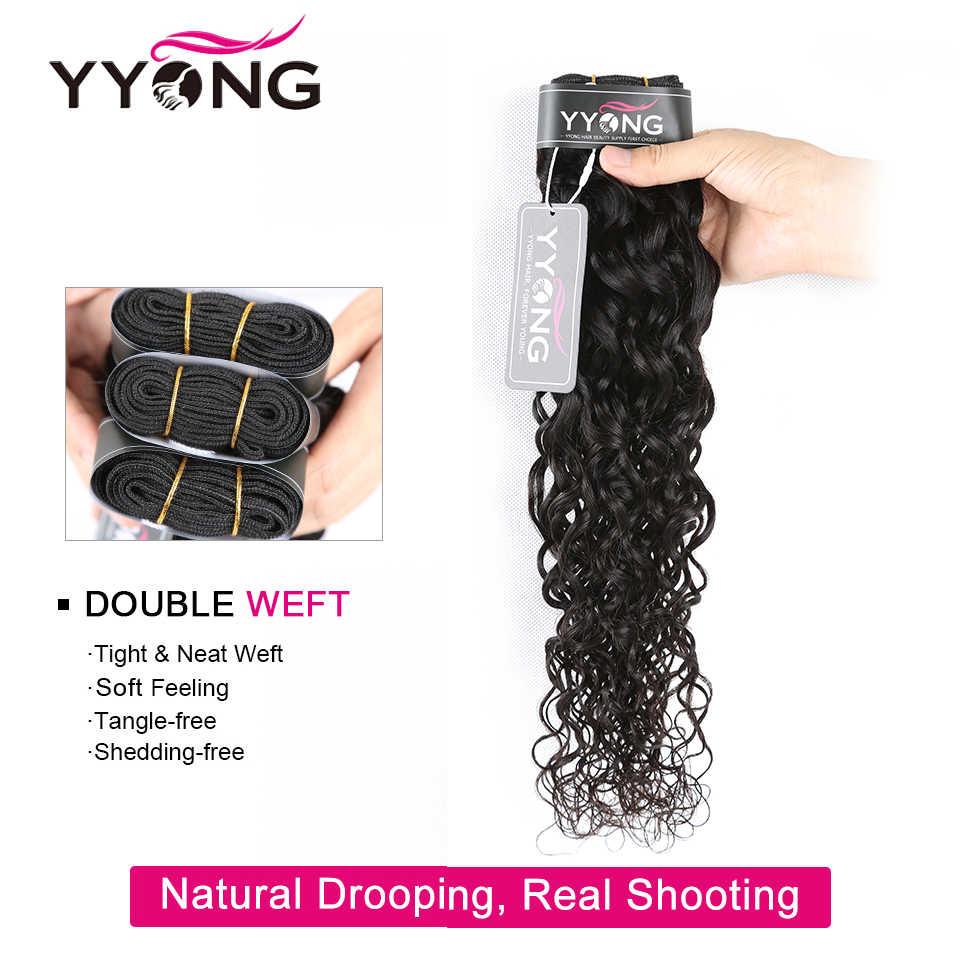 Yyong malezyjski Water Wave wiązki z Frontal Remy człowieka wiązki włosów z Frontal 13x4 ucha do ucha koronka czołowa z wiązek