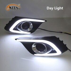 Image 3 - OKEEN 2 adet araba LED gündüz farı Mazda 3 Mazda3 Axela 2013 2014 2015 2016 günışığı sis lambası dönüş sinyal ışıkları