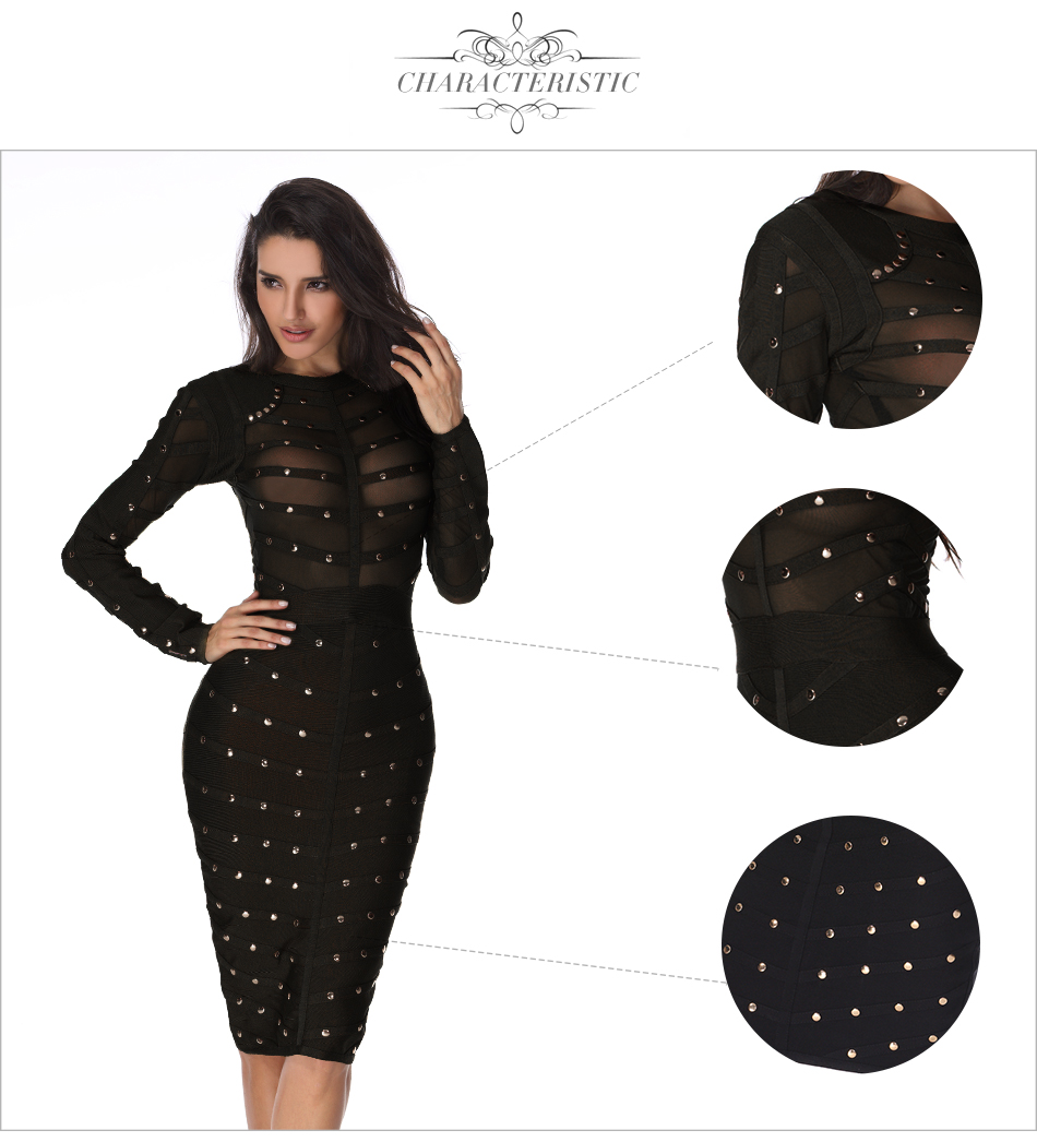 Adyce 2021 New Women Black Lace Bandage Dress Autumn Midi Long Sleeve Sexy Mesh Bead Bodycon Club Celebrity Party Club Dresses