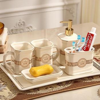 Bathroom Accessories Set Ceramic Soap Dispenser Soap Dish Toothbrush Holder Gargle Cups Bathroom Wash Suit Wedding gifts