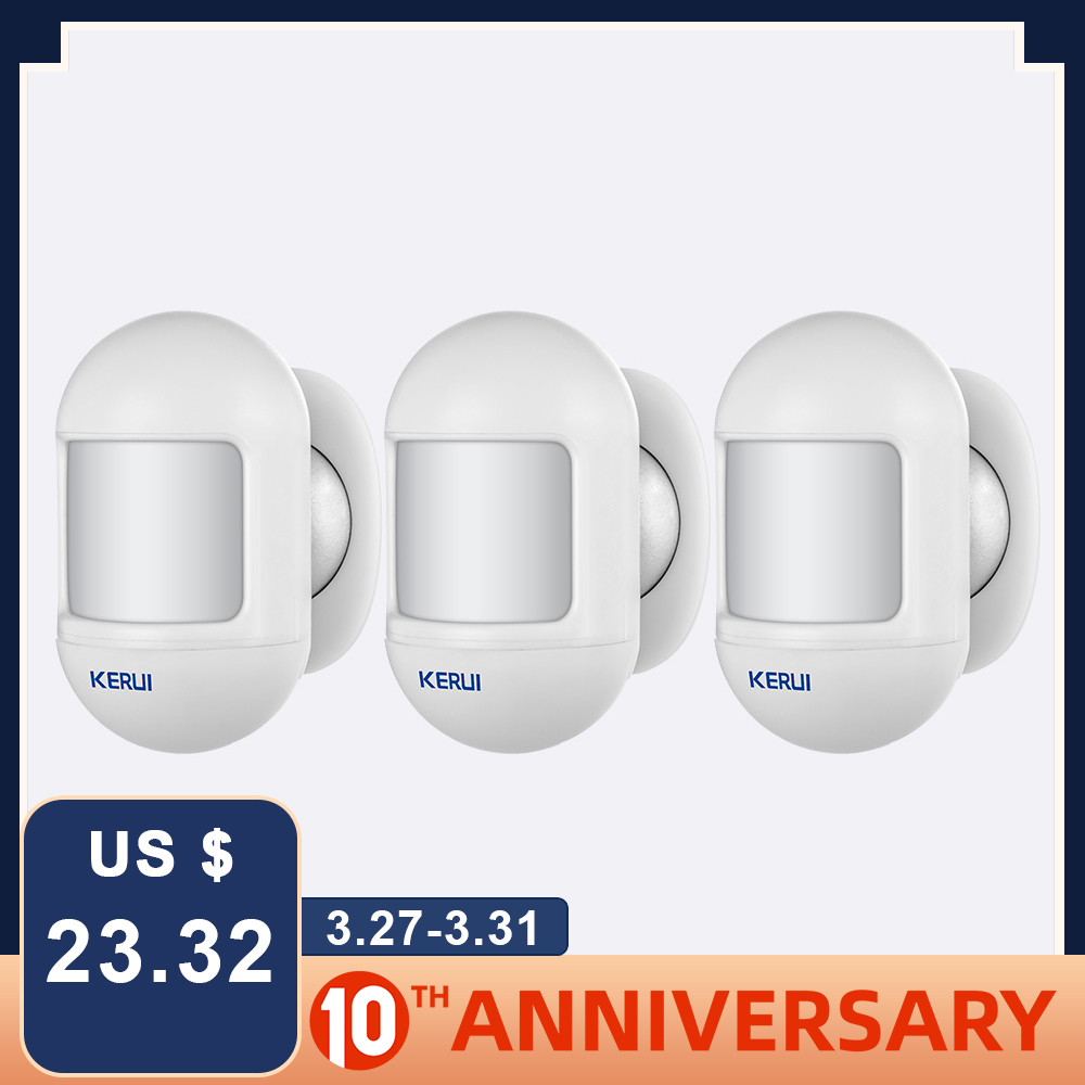 KERUI 3Pcs Wireless Mini Safety PIR Motion Sensor Alarm Detector Built-in Battery With Magnetic Swivel Base Home Alarm System