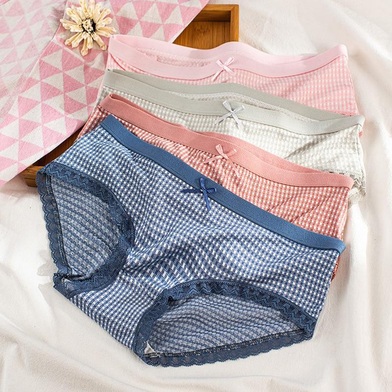 Girl Underwear Women Cute Bow sweet pink Plaid Panties Soft Cotton Panties Seamless Briefs Female Lace Lingerie