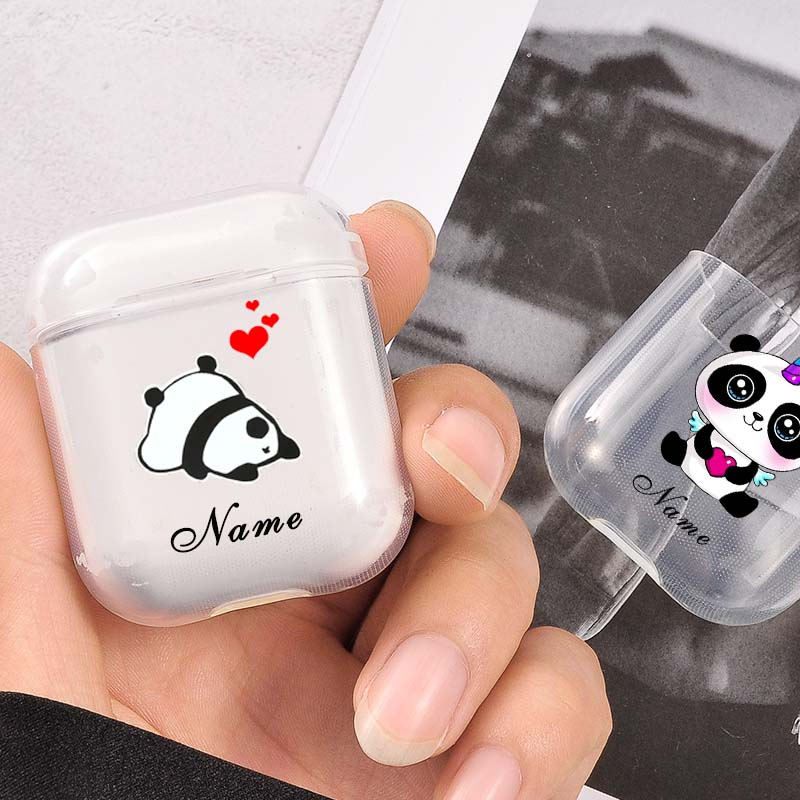Clear Cases For Airpods Cute panda Custom Name Transparent Soft AirPods Protective Cover Wireless Earphone Case