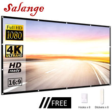 Salange Led Projector Screen Portable,60 100 120 inch 16:9,Polyester Outdoor Movie Screen For Travel Home Theater DLP Projektor(China)