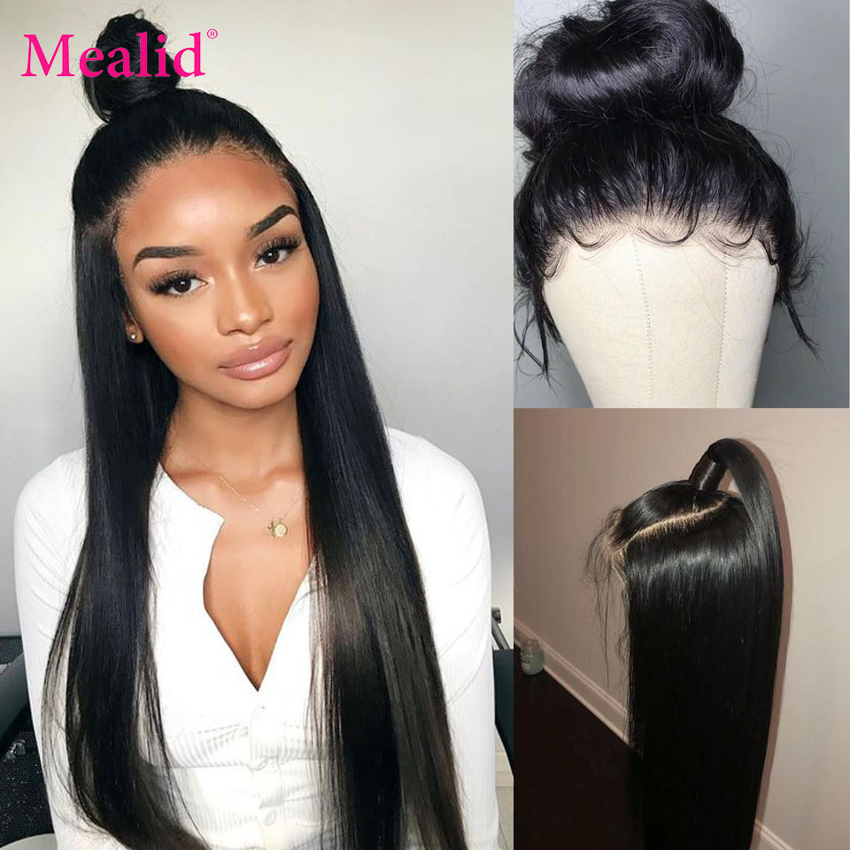 Mealid Brazilian Remy 360 Lace Frontal Wig Straight Human Hair Wigs Pre Plucked With Baby Hair Natural Color For Black Woman