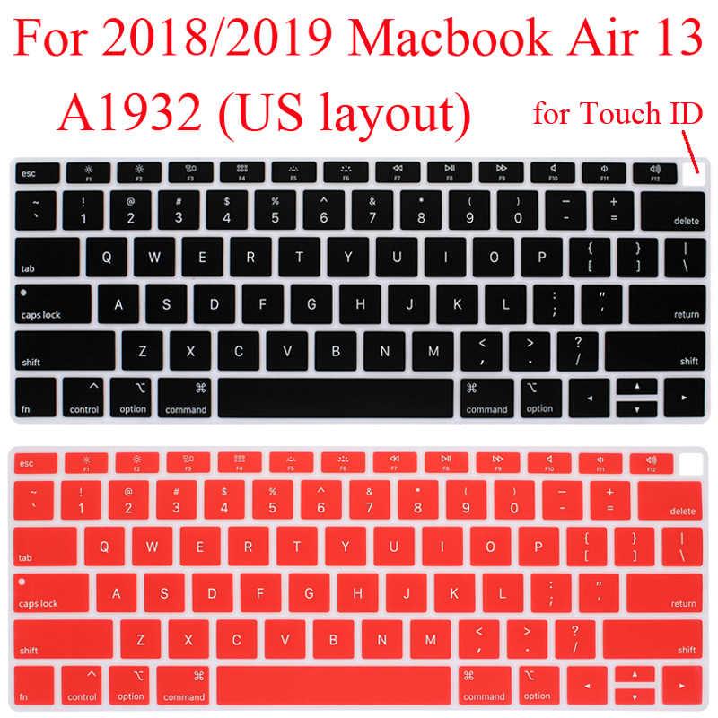 Protector de teclado de silicona para 2018 Macbook Air 13 A1932 carcasa de teclado piel 2019 Air 13,3 cubierta de teclado de pulgadas