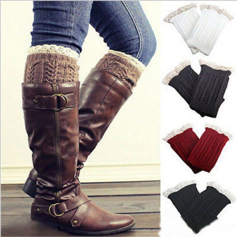New For Boots Solid Color Lace Socks Women's Warm Knitted Leg Cover