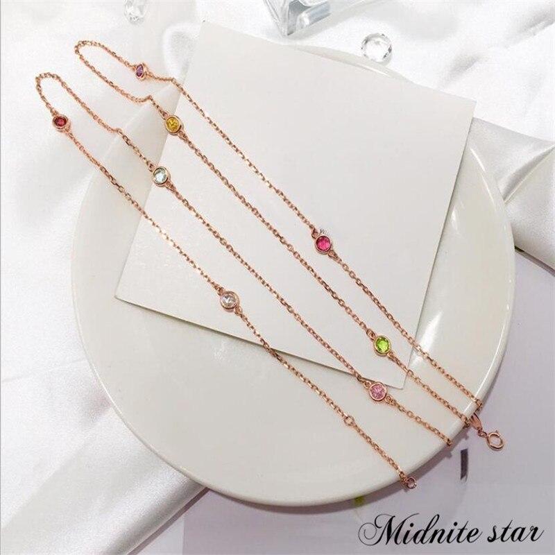 Offre spéciale S925 pur argent couleur pull collier mode couleur pierre cristal chandail chaîne femmes longues femmes collier