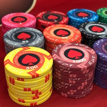 2020 New EPT Ceramic Poker Chips Kit European Poker Tour 39*3.3mm 10g / 80*50mm 42g