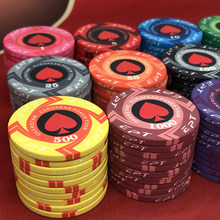 2021 novo ept cerâmica poker chips kit europeu poker tour 39*3.3mm 10g / 80*50mm 42g