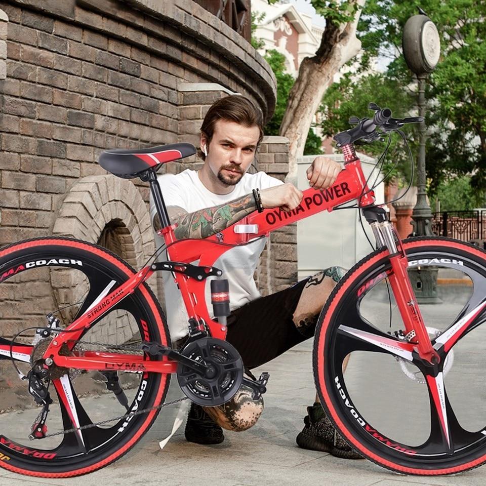 26in 21 Speed Folding Mountain Bike Shimanos Derailleur Full Suspension MTB BIke