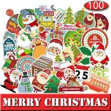 100 Stks/set Vrolijk Kerstfeest Stickers Straat Doodle Sticker Set Voor Kerst Dag Waterdichte Pvc Sticker