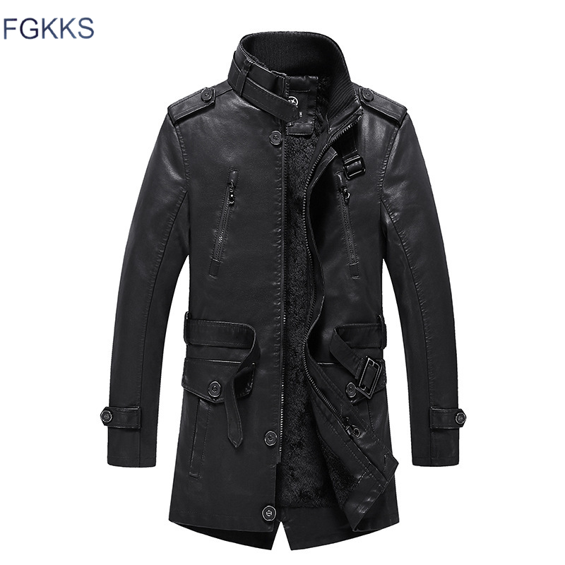 FGKKS Men's Leather Jackets Coats Winter Male High Quality Motorcycle Faux PU Jacket Men New Arrival Leather Jackets
