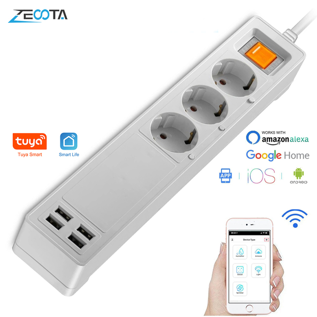 Smart Wifi Power Strip Outlets Surge Protector Multiple EU Extension USB Sockets Individual Remote Control for Alexa Google Home