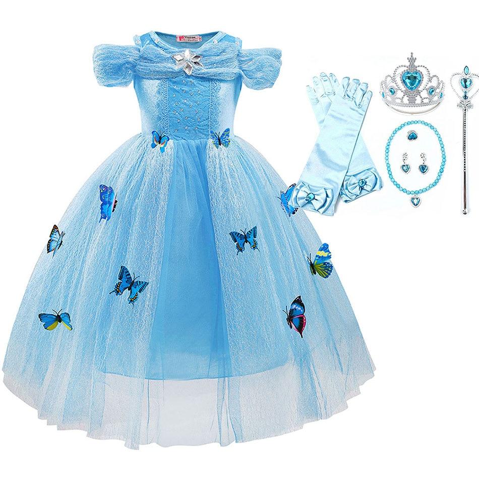Niñas Halloween fiesta princesa vestir niños Cenicienta Aurora Belle fantasía traje mariposa niños sin mangas trajes 3-10T