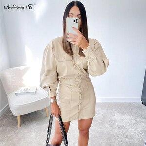 Mnealways18 Streetwear PU Leather Shirt Dress Women Casual Single-Breasted Cream Bodycon Dresses Ladies Long Sleeve Mini Dresses