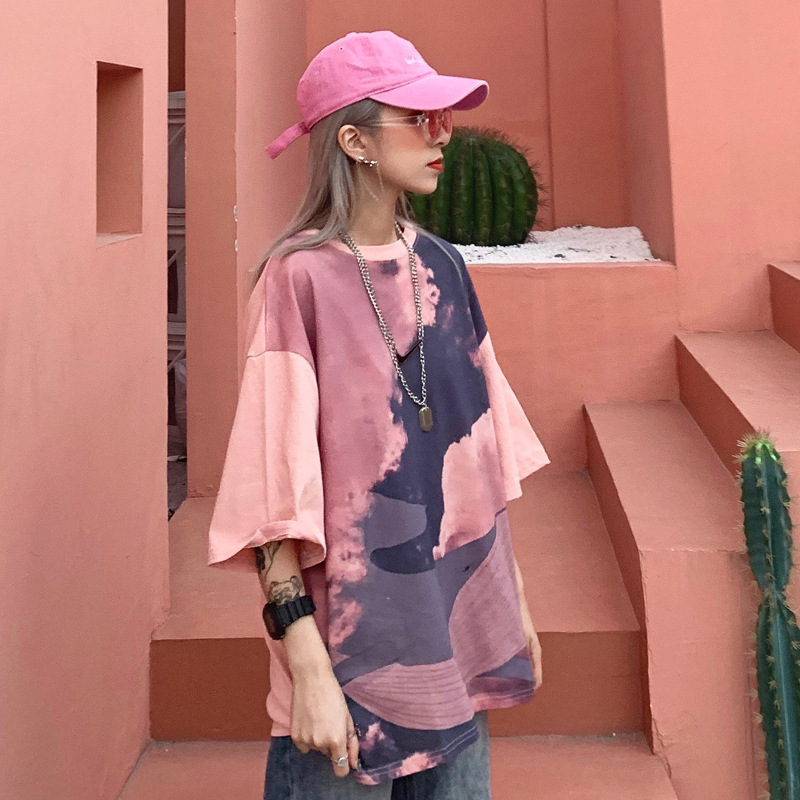 2019 Summer New Style Korean-style Harajuku Wind Cool <font><b>Tie</b></font>-<font><b>dye</b></font> Contrast Color Tops Loose-Fit Lotus <font><b>Pink</b></font> Short Sleeve T-<font><b>shirt</b></font> Wome image