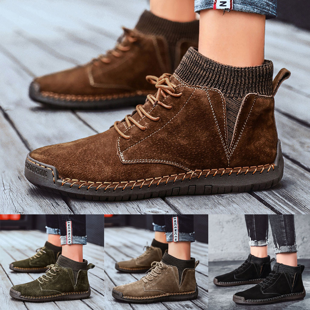 JAYCOSIN Boots Autumn Winter Men's Outdoor Wear Non-Slip Shoes Retro Shoes Casual Breathable Outdoor Motocycle Boots #45