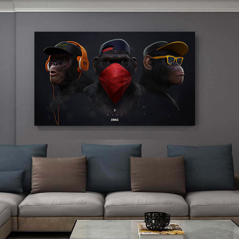 Masked Music Glasses Headphone Monkey Canvas Painting on the Wall Art Poster Print Animals Decoration Pictures for Living Room(China)
