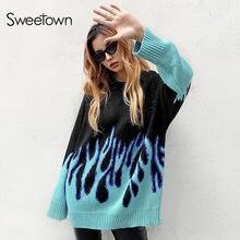 Sweet own Flaming feu imprimer surdimensionné chandail Long femmes tricots vêtements de mode à manches longues automne hiver pulls tricotés