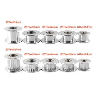 GT2 зубчатый шкив 16/20 зубчатое колесо диаметр 3/5 мм алюминиевая зубчатая передача ширина 6/10 мм 3D принтеры части для Reprap части