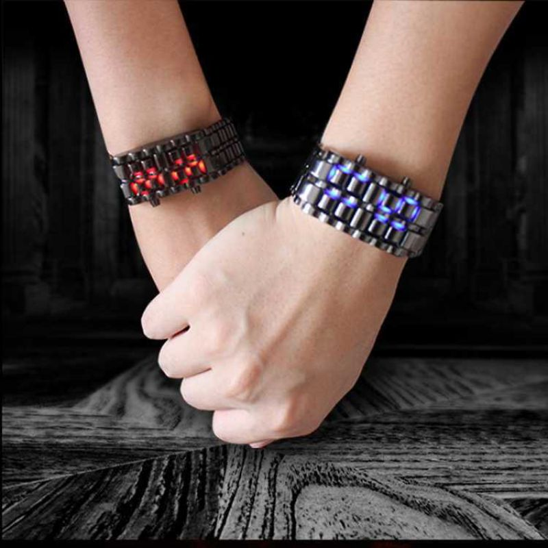 Watch For Men Women Unisex Couple Hot Sale Cool Silver Full Stainless Steel LED Lava Blue Red Light Digital Wrist Watch
