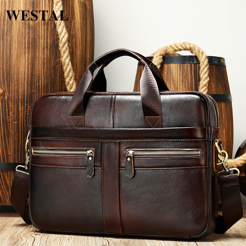WESTAL Men's Briefcases Men's Bags Genuine Leather Lawyer/office Bag For Men Laptop Bag Leather Briefcases Bag For Documents 209