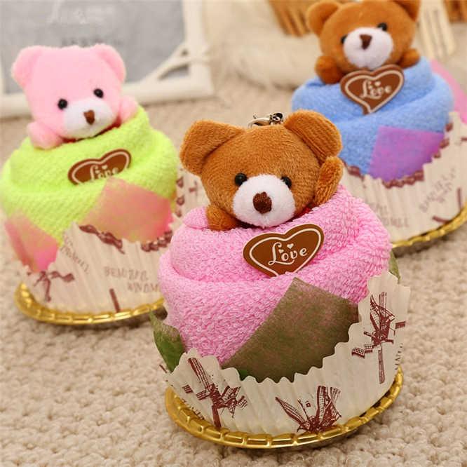 10 ชุด 30x30 ซม.ผ้าขนหนู MINI หมีถ้วยเค้กแพ็คผ้าไมโครไฟเบอร์ผ้าขนหนูใบหน้าผ้าขนหนูซักผ้างานแต่งงานของขวัญ