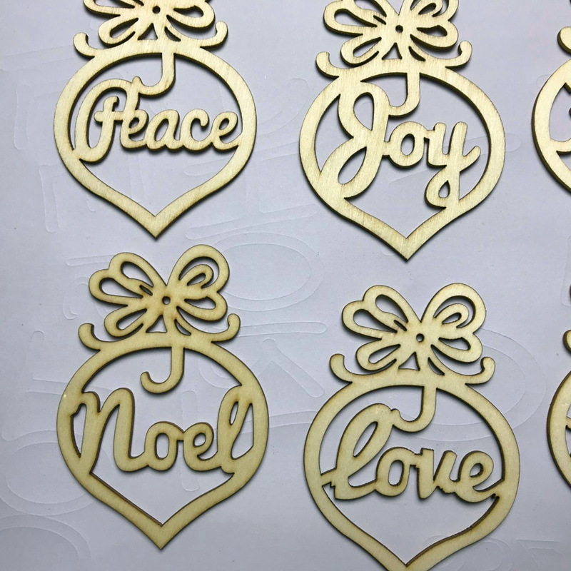 6Pcs Christmas Letter Wood Laser Heart Bubble Pattern Ornament Tree Decorations Home Festival Ornaments Hanging Gift 6 Pc Bag in Pendant Drop Ornaments from Home Garden