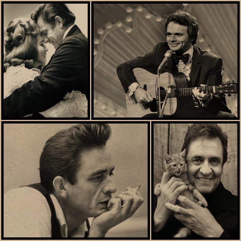 Johnny Cash Vintage Retro Poster Bar Home Decoration Painting