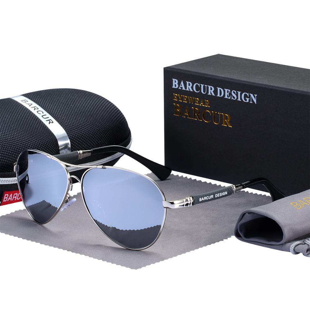 BARCUR Design Titanium Alloy Sunglasses Polarized Men's Sun Glasses Women Pilot Gradient Eyewear Mirror Shades Oculos De Sol 11