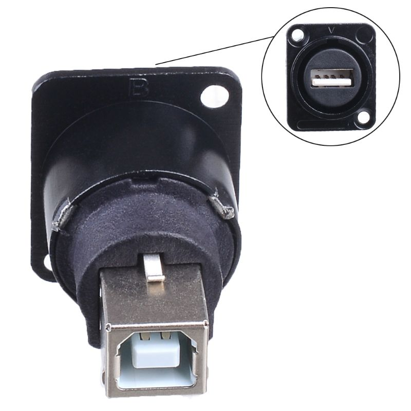 Metal USB B Type Female Socket To USB A Type Female Socket Panel Mount Adapte