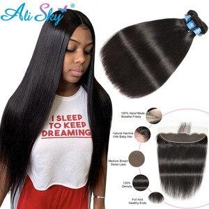 Image 1 - Бразильские пряди волос AliSky с фронтальным переплетением 13x4, прямые пряди волос с застежкой, человеческие волосы Remy