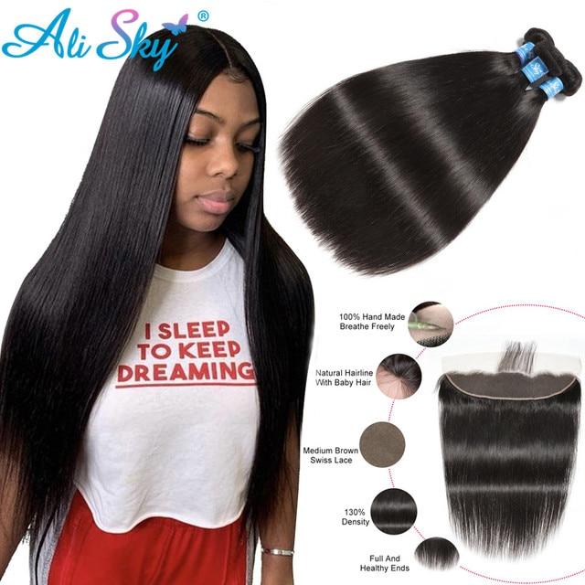 Бразильские пряди волос AliSky с фронтальным переплетением 13x4, прямые пряди волос с застежкой, человеческие волосы Remy