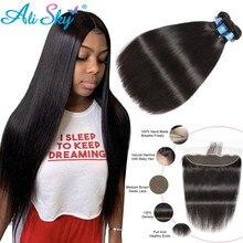 AliSky ברזילאי שיער Weave חבילות עם פרונטאלית 13x4 תחרה פרונטאלית ישר שיער חבילות עם סגירה פרונטאלית רמי שיער טבעי
