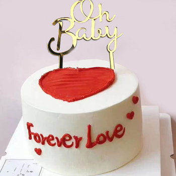 1pc Oh Baby Pattern Happy Birthday Acrylic Cake Topper Babyshower Cupcake Topper image