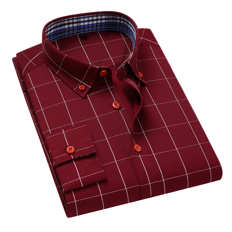 Handsome Fashion Men Shirts Casual Long Sleeved Plaid Shirt Regular Fit Male Blouse 4XL 5XL 2