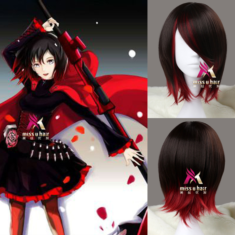 Rwby Rubi Pink Hair Wig Short Red In A Straight Line Resistant To Synthetic Heat Cosplay Hair Anime Rwby Wig Cosplay Rubi Rosef
