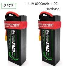 Bateria 3s 11.1v 5200mah 6000mah 6500mah 8000mah 50c 100c 80c 160c 110c 220c hardcase para 1/8 barco do caminhão de carro gtfdr 2 pces lipo