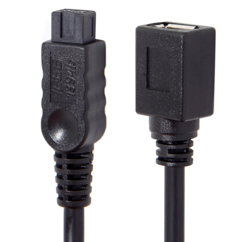 10Cm 1394 6Pin Female To 1394B 9Pin Male Firewire 400 To 800 Cable Black